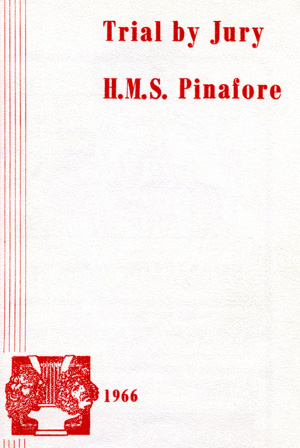 Trial By Jury/HMS Pinafore programme cover (1966)